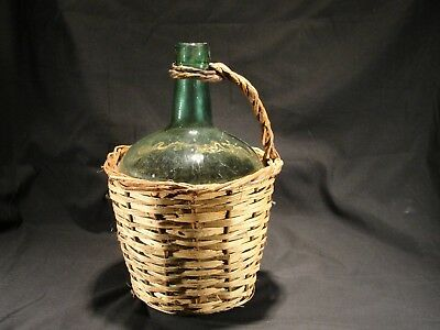 """Antique VIRESA 13"""" Green Demijohn Wicker Wrapped Carboy w/ Handle"""
