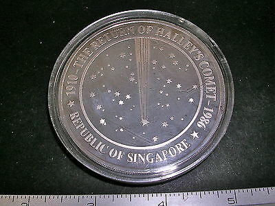 1986 RETURN Of HALLEY'S COMET 5oz 999 Silver Proof Singapore Mint meteorite + AD