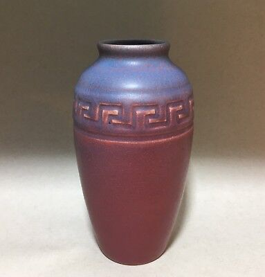 1908 Rookwood Arts & Crafts Cabinet Vase - Red & Blue Greek Key Geometric 922E