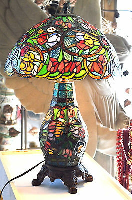 Beautiful  Large Tiffany Style Art Stained Glass Lamp Flowers and Jewels Shade