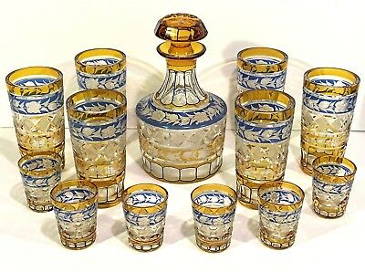 13 pc BOHEMIAN CZECH GLASS Amber Yellow & Blue CUT TO CLEAR Whiskey Decanter Set