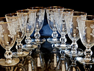 Vintage Barware Set of 8 Cordial Port Wine Goblets ''ROSE CLASSIC''by Libbey USA