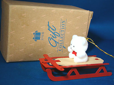 "Avon Gift Collection Christmas Ornament Teddy Bear On Metal Sled 3"" Wide @26"