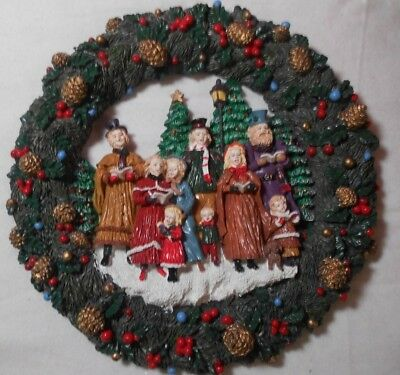 """12""""  Christmas Carolers WREATH Victorian Style clothing Hand painted Vintage"""