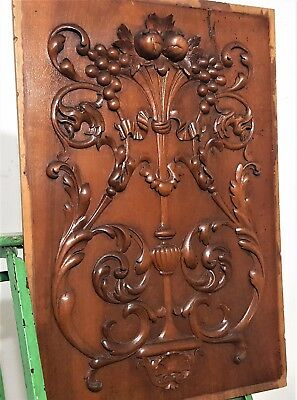 HAND CARVED WOOD PANEL ANTIQUE FRENCH GRIFFIN DRAGON ARCHITECTURAL SALVAGE 19th