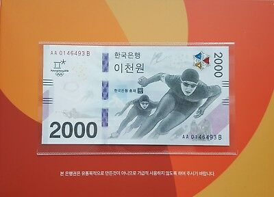 South Korea 2018 Olympic Winter Games Banknote 1 Note 2,000won AA01B with folder