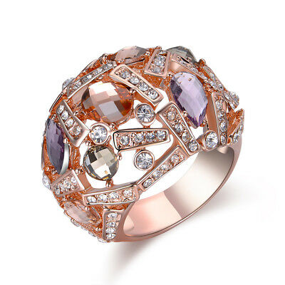 rose gold plated big cocktail rings for women colorful crystals statement  R1866