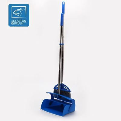 Long Handled Dustpan & Brush Set Lobby Dust Pan Broom Stainless Steel Handles