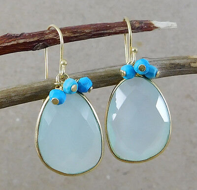 """925 Silver 6.43g Chalcedony Turquoise Gemstone Gold Plated Earring 1.4"""" M5E230"""