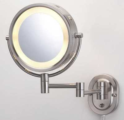 """SEE ALL INDUSTRIES HLNSA895D Lighted Makeup Mirror, 8"""" Nickel, 5X"""