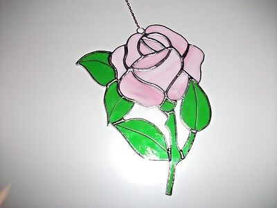 Stained Glass handmade single pink rose Sun-catcher /  window decoration