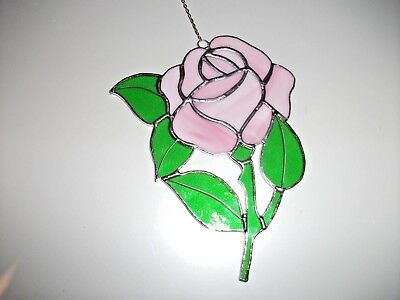 Stained Glass handmade single pink wispy glass rose Sun-catcher