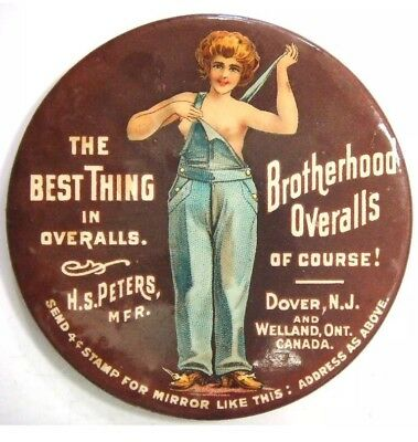 Mirror-Best thing in Overalls (Semi-nude woman) Brotherhood Overalls, Dover,N.J.