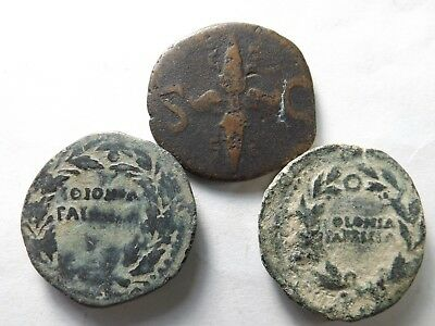 Lot of 3 Ancient Roman As Coins; Augustus; 34.8 Grams!