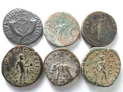 Lot of 6 Higher Quality Larger Ancient Roman Coins; Tiberius...; 88.8 Grams!