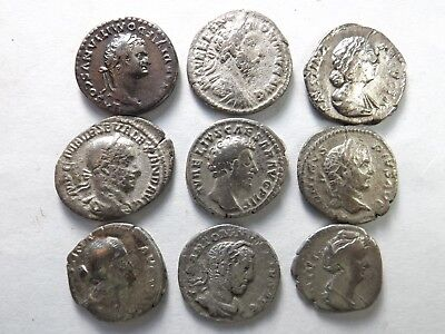 Lot of 9 Mixed Quality Ancient Roman Denarius Coins; Domitian...:  22.6 Grams!