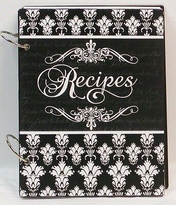 French Damask & Fleur de Lis Custom Blank Wood Recipe Book Personalized Free