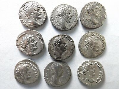 Lot of 9 Mixed Quality Ancient Roman Denarius Coins; Severus...:  25.3 Grams!