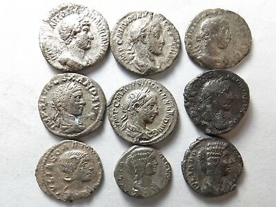 Lot of 9 Mixed Quality Ancient Roman Denarius Coins; Hadrian...:  23.1 Grams!