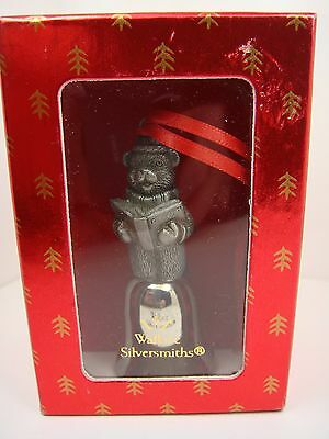 Wallace Silversmiths Teddy Bear Caroler Pewter Mini Bell - Christmas Ornament