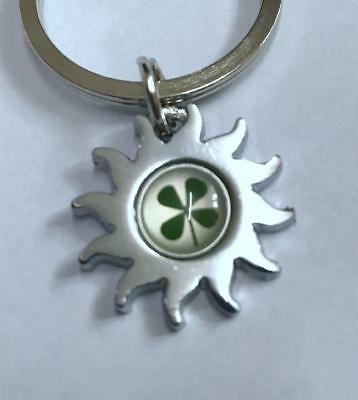 Vintage real four leaf clover magic keychain Jewelry