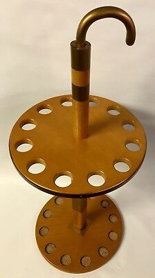 """VINTAGE 38"""" TALL WOOD & BRASS UMBRELLA or CANE STAND HOLDER HOLDS 12 CANES RARE!"""
