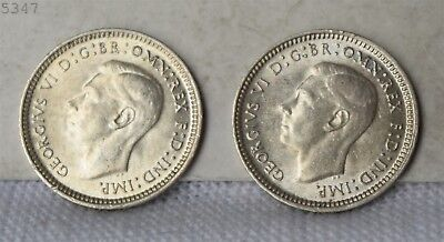 """1943-D Australia Lot of 2 *Silver* 3 Pence """"UNC"""" *Free S/H After 1st Item*"""