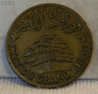 """1931 Lebanon 5 Piastres """"XF/AU"""" *Free S/H After 1st Item*"""