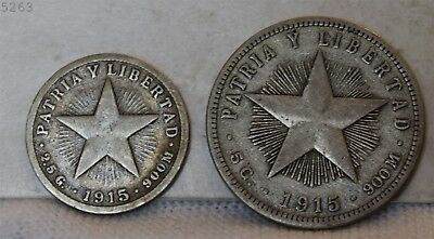 1915 Lot of 2 *Silver* Patria Y Libertad *Free S/H After 1st Item*