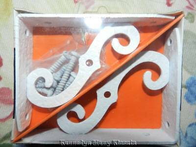Vintage McKinney Manufacturing Co. WHITE Forged Iron Ornamental Brackets 4X3 NIB