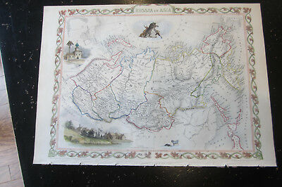 Russia In Asia - Map of Russia in Asia, from Tallis's Illustrated Atlas, 1851