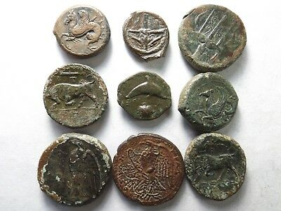 Lot of 9 Higher Quality Ancient Greek Coins: Sicily-Hippocampus...; 60.4 Grams!