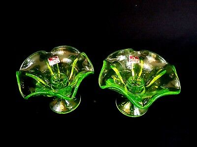 Set of 2 Viking Hand Made Vaseline Glass Candle Holder Bowls Green Uranium Decor