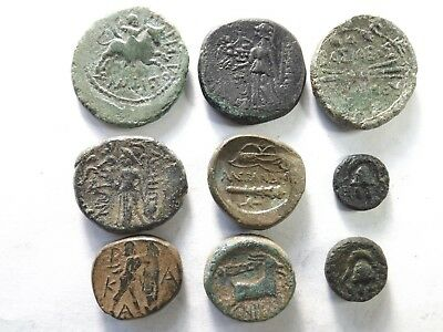 Lot of 9 Quality Ancient Greek Coins: Macedonian- Rider, Bolt...; 63.0 Grams!