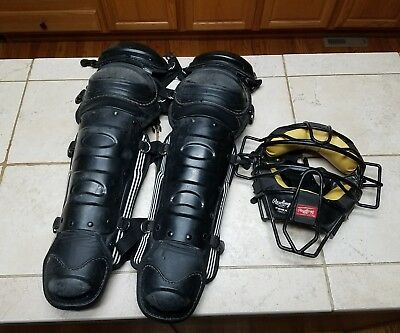 Rawlings PWMX Catchers Umpires Black Face Mask W/ Shin Guards