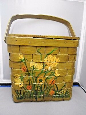 Vintage Stained Wooden Basket Weave Purse Hand Painted Flowers  Lined