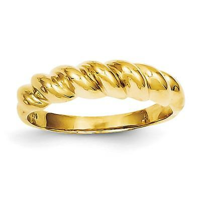 14k Yellow Gold Polished Twisted Dome Ring R285 Size 6