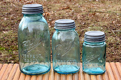 Vintage Blue Ball Perfect Mason Jars 2Qt~1Qt~1Pt Numbered With Ball Zinc Lids