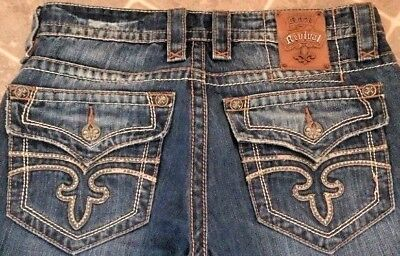 Excellent Mens ROCK REVIVAL ANTHONY Flap Pockets Boot Jeans 31(33)x30 Hot!!