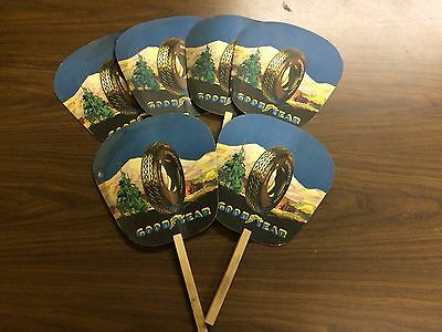 Lot of 6 - Vintage Goodyear All Weather Balloon Tires Advertising Fans
