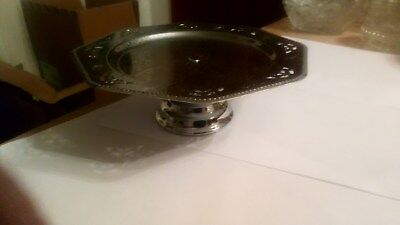 Vintage Metal CAKE STAND Single Tier Pedestal 8 Inches Diameter SHABBY CHIC