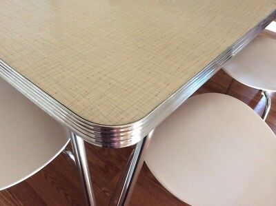 Vintage 1950s Mid-Century Retro Formica Chrome Dinette Kitchen Table & 6 Chairs