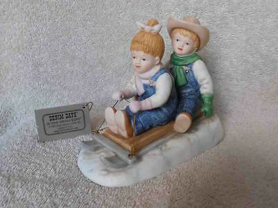 Denim Days Home Interiors #15350 Winter Fun Sledding Figurine NIB
