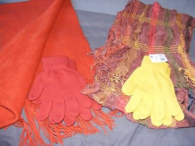 Ladies rust and mustard colours Wool Scarf And Cotton Scarf and Glove Set