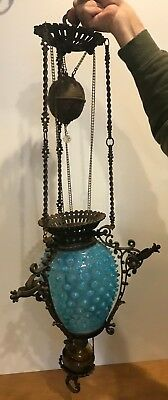 Antique Victorian Blue Hobnail Kerosene Brass Lamp Circa 1880s