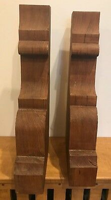 Antique Vintage Pair Large Ornate Oak Wooden Corbel Architectural Salvage 1930