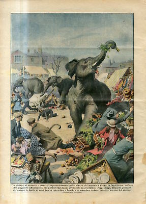 1935 Three elephants at the market. Appeared suddenly in market in Crewe England