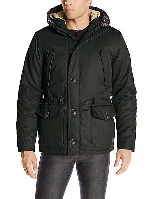 English Laundry Mens Wax-Cotton Hooded Parka Jacket Black Medium Durable A