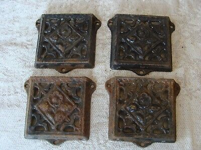 CAST IRON Antique Brackets / Pockets Small from Church Pews Lot of 4