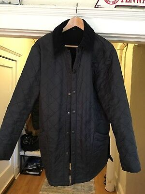 BARBOUR LIDDESDALE QUILTED JACKET WITH CORDUROY COLLAR IN NAVY, size large